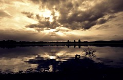 Sunset Lake (Missy Jussy) Tags: light sunset england sky lake silhouette clouds canon reflections skyscape landscape shadows cloudy horizon lancashire rochdale hollingworthlake cannon600d