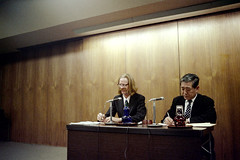20-285 (ndpa / s. lundeen, archivist) Tags: people man color men film japan 35mm ties japanese glasses kyoto suits sitting desk nick microphones longhair tie meeting suit blond blonde nd speaker microphone conference 20 mustache 1970s eyeglasses 1972 seated speakers unidentified businessmen translator dewolf honshu  nickdewolf photographbynickdewolf reel20