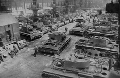 KV-1 heavy tanks in Chelyabinsk factory