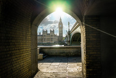 The Arch of Westminster (Think James Photo) Tags: sun reflection brick london tower clock water westminster thames river big arch ben housesofparliament parliament tunnel lensflare government hdr highdynamicrange hdri tunnell ststephen