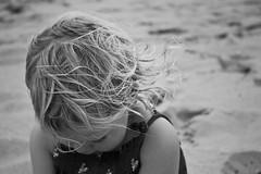 Beach hair. (Ian McWilliams.) Tags: blackandwhite bw cute girl dark hair mono innocent daughter northumberland chrome bamburgh beachhair budlebay canon550d