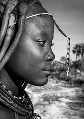 Himba Woman Profile, Epupa, Namibia (Eric Lafforgue) Tags: africa girls portrait people blackandwhite macro vertical closeup dreadlocks outdoors photography necklace women day native profile tribal headshot jewellery afrika tradition tribe ochre youngadult hairstyle namibia plaits oneperson indigenous lookingaway ethnicity kaokoveld himba namibian ethnology epupa southernafrica namibie damaraland realpeople cunene namibe namibi namiibia kuneneregion africanethnicity 1people himbatribe onegirlonly ethnicgroup ovahimba onlywomen himbas himbapeople traditionalhairstyle nomadicpeople ethnologic     namibya namibio  otjize   herdingpeople namibia127842 onewomanonly