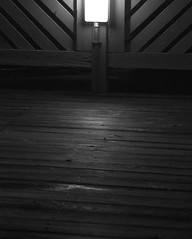Day 179 - First Night (brandondesign) Tags: new wood old light shadow blackandwhite lines night scary mood glow moody shadows charlotte deck 365 grayscale daunting project365 365project