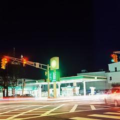 BP (aaronvandorn) Tags: longexposure nightphotography jerseycity tripod gasstation lighttrails nightscene stoplight bp crosswalk britishpetroleum minoltaautocord kodakektar westsideavenue rokkor75mmf35 communipawavenue