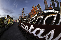 02468053-62-Where Neon Goes to Die-13 (Jim Beatniks are out to make it rich) Tags: vegas sunset sky usa sign night america outside lights downtown neon lasvegas dusk nevada places 2014 neonmuseum neongraveyard