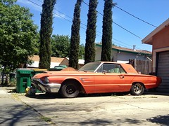 Is The Word (misterbigidea) Tags: auto street city trees red urban classic ford beauty car vintage project landscape rust view scenic neighborhood explore driveway hotwheels parked thunderbird stockton tbird 1965