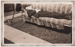 Lazy Sunday (lydiafairy) Tags: old vintage found outside backyard nap sleep snapshot collection lazy oldphoto vernacular rest foundphoto repose vintagephoto orphaned
