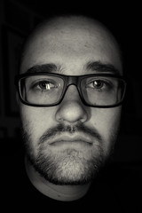 Self Portrait (mattwitmer) Tags: portrait bw white selfportrait black self glasses glare