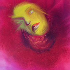 If You Only Knew... (brynze1) Tags: blue portrait woman usa abstract color art illustration photography eyes paint neon digitalart armless sinking reddress helpless behindblueeyes mobileart nervousbreakdown