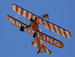 Wing Walkers (Bernie Condon) Tags: fbo farnborough airshow display flying aircraft aviation aerosuperbatics aerobatic formation wingwalking boeing stearman biplanes breitling girls women