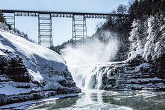 misty falls (jojoannabanana) Tags: 3652017 bridge cold falls frozen geneseeriver ice icicles letchworthstatepark mist railroadbridge river snow texture upperfalls water waterfall westernnewyork winter wny
