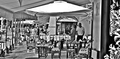 """Falconeri"" (giannipaoloziliani) Tags: monochrome blackandwhite liguria italy portofino country tourists landscape nikon nikoncamera nikond3200 sunlight beach restaurant view perspective tables shops falconeri luxury flickr walk"