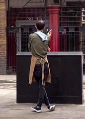 Cross Legged.  Tower Court, Seven Dials, London, WC2 (MJ Reilly) Tags: london westend nikon d90 martinreilly mjreilly worker kitchenporter waiter chef smoke smoking break cigarettebreak mancrosslegged legscrossed city street urban sevendials wc2 londonwc2