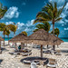 Palapas at the beach Intercontinental Cancun Mexico