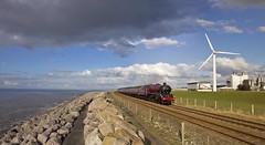 By the sea in Cumbria (EltonRoad) Tags: 45699 galatea jubilee class steam train railway line loco locomotive engine cumbria winter cumbriancoastexpress siddick flimby workington solwayfirth sea coast railwaytouringcompany westcoast lakedistrict