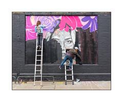 Street Art (Frankie & Nerone), East London, England. (Joseph O'Malley64) Tags: nerone frankiehandmade streetart streetartists urbanart publicart freeart graffiti eastlondon eastend london england uk britain british greatbritain art artists artistry artwork murals muralists wallmurals wall walls brickwork bricksmortar render pavement accesscovers cycleparking aluminiumladders victorianstructure formerlyrailwayproperty underthreatofdevelopement gentrification creepinggentrification urban urbanlandscape fujix accuracyprecision antcarver