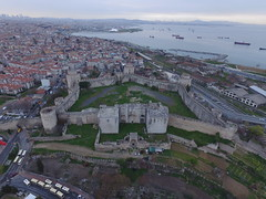 The Seven Towers Fortress (Yedikule Hisarı) from the air (CyberMacs) Tags: projectweather air architecturalstyle basilica bigwall building byzantinearchitecture byzantium bástya cloudyday dronephotography fatih fort fortress istanbul istanbulsurlari longwall phantom3 places seventowers skyphotos theodosiansurları theodosianwalls turkey wall wallofconstantine wallsofconstantinople yedikule yedikulefortress yedikulehisarı yedikulezindanları aerial aerialphotography bastion drone droneography fromabove outdoor tower özenmimarlık istanbulsurları tr