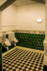 Green and Chequed (Brian Travelling) Tags: ourdaillychallenge green tiles tile tiled restroom toilet peoplespalace glasgow chequered interior architecture design victorian