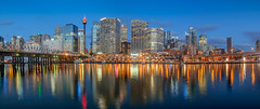Sunset at Darling Harbour (Anthony's Olympus Adventures) Tags: sydney nsw australia city cityscape downtown cbd water harbour shore darling darlingharbour stunning beautiful wow amazing photo photogenic photography pano panorama panoramic olympus olympusem10 olympusomd reflection longexposure sunset sundown night dark lights light skyscraper building pyrmont skyline