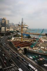 Hong Kong waterfront (vhines200) Tags: hongkong 2017 waterfront constructioncranes skyscrapers harbor highway traffic freeway constructionsite