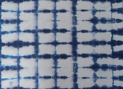 Itajime Shibori (Morganthorn) Tags: shibori dying fabric blue indigo japan japanese art bound resist wood example tiedye