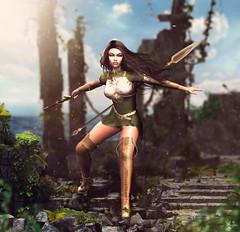 Zejtyra (meriluu17) Tags: una elf elven warrior fight angry anger emotions poseidon sword war outdoor ruins rock rocks ivy fantasy magical magic portrait