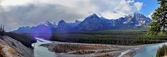 Icefields Parkway Scenery - Panorama - Jasper National Park, Alberta, CA (André-DD) Tags: cans2s canada kanada urlaub vacation alberta herbst fall autumn outdoor clouds mountain landscape hill mountainside jasper national park parkway sonne sun panorama nationalpark bäume baum tree trees serene mountains berge berg wolken wolke cloud natur nature icefields icefieldsparkway snow schnee sky