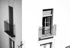 Learn the rules, then break them. (isabelrovirasalvador) Tags: person balcony window breaktherules rules nikon 50mm sunlight shadow shadows light sun creative spain barcelona city people windows bnw blackandwhitephotography blackandwhite