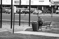(DanJBailey) Tags: playground grass park parkbench alamogordo nm newmexico blackandwhite depressed depressing depression distractions distracted person man people monochrome black white bw street zoo bench candid alone lonely sad