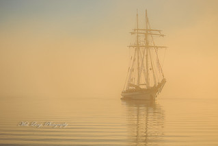 The One And All at anchor in a fog bank,early morning sunrise