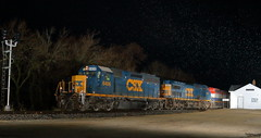 CSXT 8406 east in Burlington, Illinois on March 31, 2017. (soo6000) Tags: burlington nighttime sd402 emd csx csxt csx8406 csxt8406 m33891 manifest freight cn foreignpower train railroad standardcab illinois freeportsub
