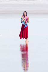 Girl at Chaka Salt Flat in China (Journey CPL) Tags: china qinghai chaka salt flat tourist trekking photography landscape lonely forgotten clouds mountain backlight blue western tibetan water reflection mirror shallow posing playing lake sea outdoor serene shore seaside sky ocean waterfront chinese girl woman pretty beautiful
