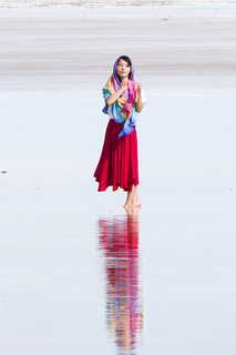 Girl at Chaka Salt Flat in China