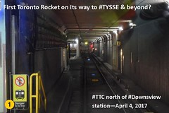 First TTC subway train on its way for testing on TYSSE - Line 1 extension (Toronto-York Spadina Subway Extension - TTC) Tags: subway ttc toronto transit commission rocket tysse