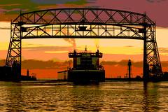 16-7432-p5b (George Hamlin) Tags: minnesota duluth harbor dawn colorful sky lake boat american integrity aerial lift bridge exhaust water lighhouse photo decor george hamlin photography