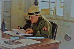 The Alcatraz Ranger (louise peters) Tags: ranger nationalparkservice alcatraz prison gevangenis museum vliegenmepper flyswatter flyflap radiophone mobilofoon hat rangerhat hoed bureau usa vs sanfransisco sanfransiscobay california californië
