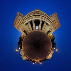 Königsplatz Little Planet (denzthomas) Tags: münchen propyläen königsplatz littleplanet kugelpanorama equirectangular blauestunde munich 21 polarpanorama 360