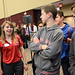Engineering Ambassador answers design questions for visiting K-12 students.