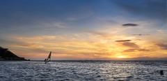 A Wind Surfing Sunset. (Sue Sayer) Tags: clevedon marine lake water tidal estuary wind surfer surfing dusk hobby somerset