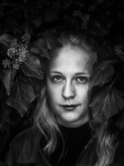 Where are you looking at? (anno.malie) Tags: blackandwhite woman portrait mysterious