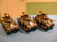 Two is company, three's a crowd. (tekmoc17) Tags: lego us usa sherman m4a4 tank ww2 custom moc brick three