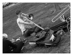 Bone practice at the Pier (AurelioZen) Tags: netherlands rotterdam students trombones musicpractice europe wilhelminapier kopvanzuid bandpractice