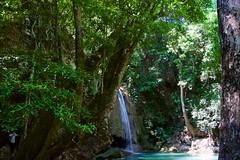 Erawan waterfall 3rd tier during dry season in Kanchanaburi, Thailand (UweBKK (α 77 on )) Tags: sony alpha 77 slt dslr erawan waterfall national park 3rd tier level water dry season green trees bushes hike kanchanaburi thailand southeast asia