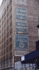 Manning Means Bowman (Jeffrey) Tags: nyc newyorkcity blue signs ny newyork building stone architecture buildings ads advertising spring manhattan painted bricks midtown advert signage lettering 30s murrayhill 2014 32ndstreet lettered midtownsouthcentral