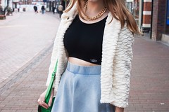 Don't you ever change...#4 (Poppy Damon) Tags: street cambridge white hat fashion photography necklace blog top coat style skirt company crop blogging denim satchel bowler the topshop ootd