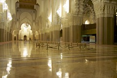 La Grande Mosque, Hassan II. (micmol ) Tags: reflection horizontal architecture ma big construction day arch mosaic islam religion great decoration perspective style indoor arches mosque clean morocco huge casablanca hassan marble typical fugue