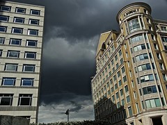 Urban Weather (Deepgreen2009) Tags: sky urban london weather buildings dark grey cumulus tall canarywharf offices