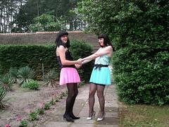 Let's dance (Paula Satijn) Tags: pink girls sexy green love stockings girl smile garden pumps legs skirt tgirl miniskirt tutu gurl