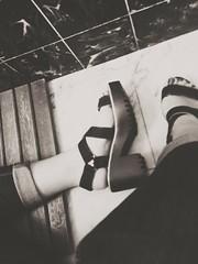 (MerPB) Tags: blackandwhite feet girl fashion bathroom foot outfit shoes floor heels zara marmol tumblr