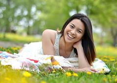 (emilypodwoiskiphoto) Tags: park trees portrait beautiful beauty field grass yellow 50mm nikon quilt dandelion laugh laughter brunette dandelions d3100